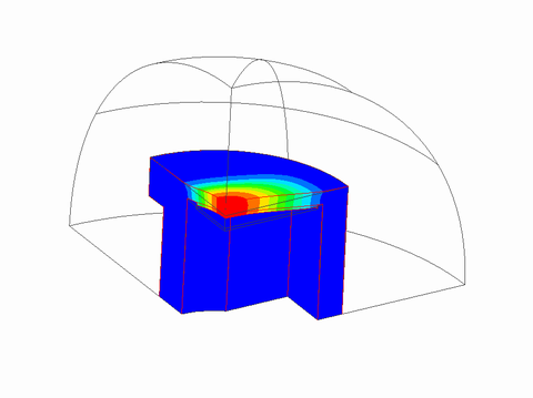 Piezoelectric analysis results of a symmetric quarter model