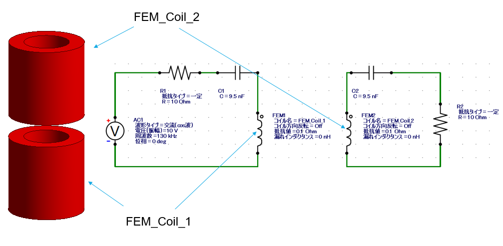 コイルモデルと外部回路図