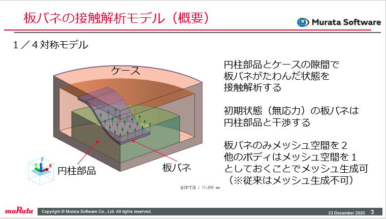 板バネの接触解析モデル(概要)